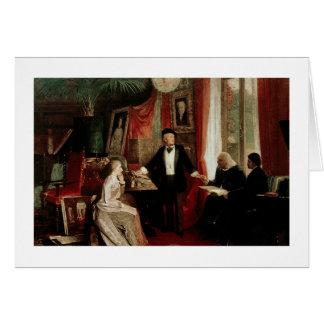Richard Wagner mit Franz Liszt und Liszts daught Karte