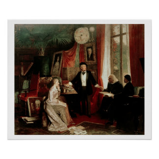 Richard Wagner mit Franz Liszt und Liszts daught Poster