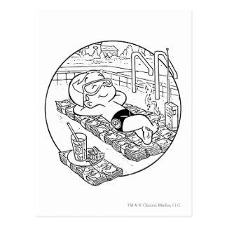 Richie Reiche im Pool - B&W Postkarte
