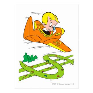 Richie reiches Fliegen-Flugzeug - Farbe Postkarte