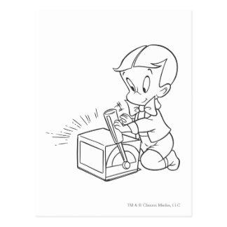 Richie reiches Spielen mit Spielzeug - B&W Postkarte