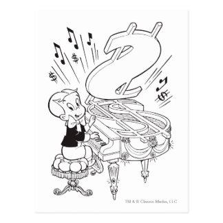 Richie reiches spielendes Klavier - B&W Postkarte