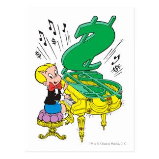 Richie reiches spielendes Klavier - Farbe Postkarte