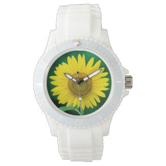 Riesige gelbe Sonnenblume in der Sommer-Uhr Armbanduhr