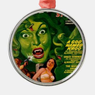 Riesige grüne Schlangen-Frau Rundes Silberfarbenes Ornament