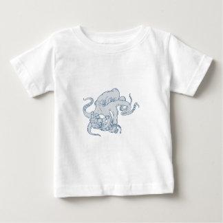 Riesige Kraken-kämpfendes Astronauten-Zeichnen Baby T-shirt