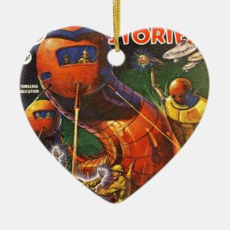 Riesige Roboter-Raupen Keramik Herz-Ornament