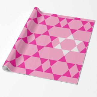 Riesige rosa jüdische Sterne Geschenkpapier