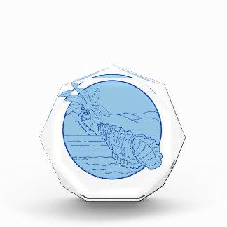 Riesiger Frosch-Muschel-Strand-Palme-Kreis Retro Auszeichnung