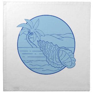 Riesiger Frosch-Muschel-Strand-Palme-Kreis Retro Serviette