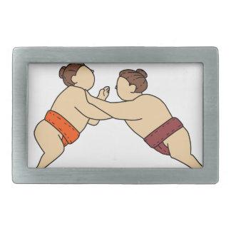 Rikishi Sumo-Ringkämpfer, der Seitenmonolinie Rechteckige Gürtelschnalle