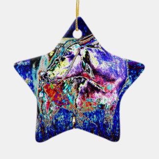 Rinderartiges Tier im Blau Keramik Ornament