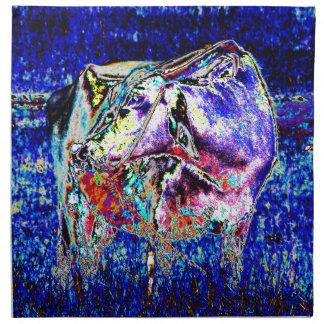 Rinderartiges Tier im Blau Stoffserviette