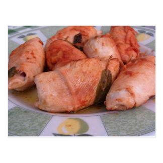 Rindfleisch rouladen mit Schinken und Käse Postkarte