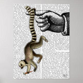 Ring angebundener Lemur auf Finger Poster