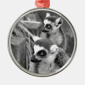 Ring-angebundener Lemur mit dem Baby Schwarzweiss Silbernes Ornament