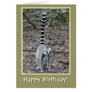 Ring-Angebundenes Lemur-alles Gute zum Geburtstag Karte