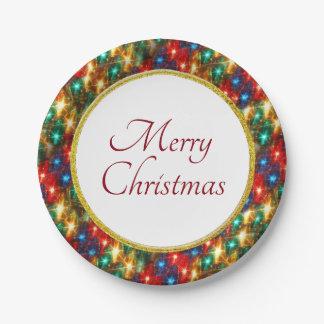 Ring der netten Weihnachtslichter Pappteller