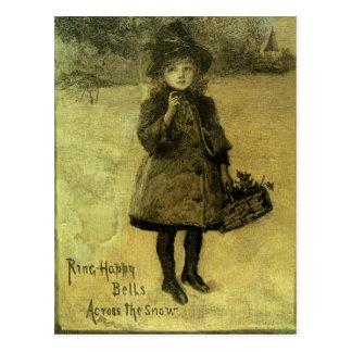 Ring glückliche Bell über dem Schnee viktorianisch Postkarte