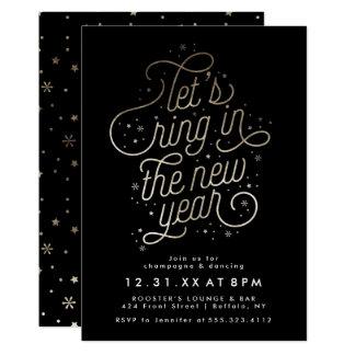 Ring im neues Jahr-Party laden Imitat-Goldfolie 12,7 X 17,8 Cm Einladungskarte