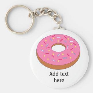 Ring-Krapfen mit dem rosa Zuckergusse Schlüsselanhänger