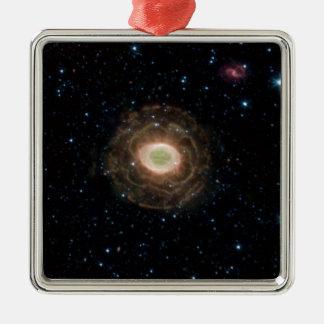 Ring-Nebelfleck oder Auge des Gottes M57 Quadratisches Silberfarbenes Ornament