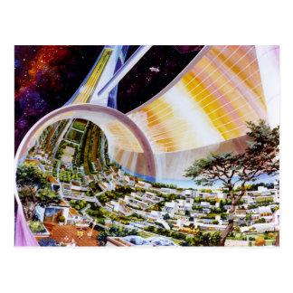 Ring-Raumstation - zukünftiger Weg-Weltlebensraum Postkarte