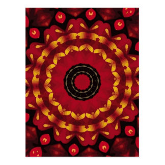 Ringe des Goldes auf roter Mandala Postkarte