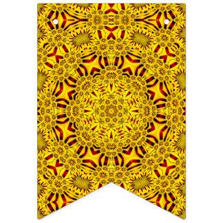 Ringelblumen-gelbe Vintage Kaleidoskop-Flaggen Wimpelketten