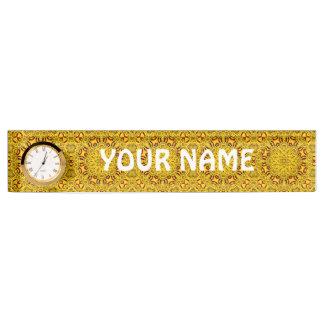 Ringelblumen-Schreibtisch-Nummernschild mit Uhr Namensplakette