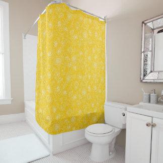 Ringelblumen weiß auf Gelb Duschvorhang