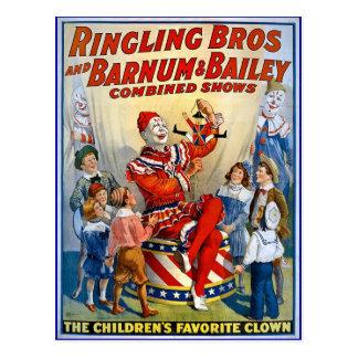 Ringling Brüder u. Barnum u. Vintage Clowns Postkarte