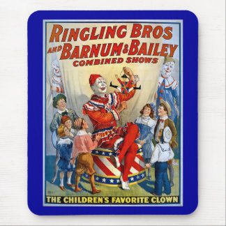 Ringling Brüder u. Barnum u. Vintager Clown Mauspad