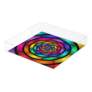 Ringsum und psychedelische bunte moderne acryl tablett