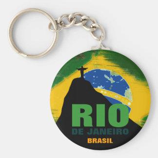 Rio- de Janeiro - Brasilien-Flagge Standard Runder Schlüsselanhänger