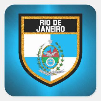 Rio- de Janeiroflagge Quadratischer Aufkleber