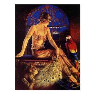 Risque Prallplatten-Mode-Mädchen u. exotische Postkarte