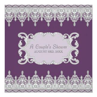 Riss-Tropfen-Spitze, Lavendel u. Grau - Brautparty Quadratische 13,3 Cm Einladungskarte