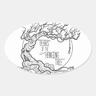 Risse des hängenden Baums Ovaler Aufkleber