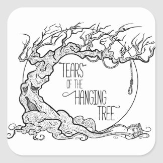 Risse des hängenden Baums Quadratischer Aufkleber