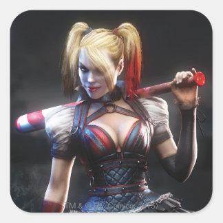 Ritter Batmans Arkham | Harley Quinn mit Schläger Quadratischer Aufkleber