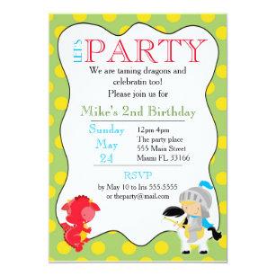 Ritter Drache Einladungs Kindergeburtstag Party Einladung