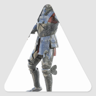 Ritter fechten zu seinem Gegner an Dreieckiger Aufkleber
