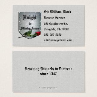 Ritter in glänzendem Rüstungs-Rosen-Schild Visitenkarte