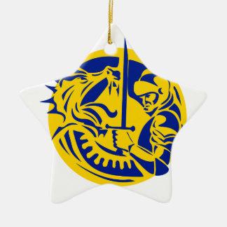 Ritter-kämpfender Drache-Kreis Retro Keramik Ornament
