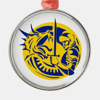 Ritter-kämpfender Drache-Kreis Retro Silbernes Ornament