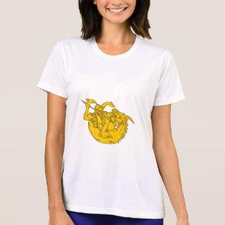 Ritter-kämpfendes Drache-Stangen-Zeichnen T-Shirt