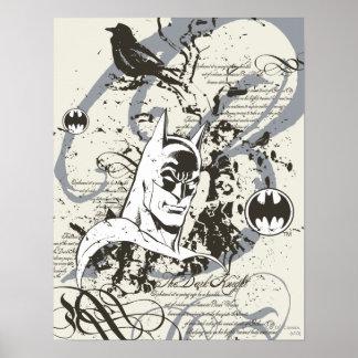 Ritter-Manuskript-Montage Batmans dunkle Posterdruck