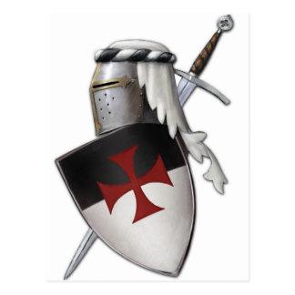 Ritter Templar Schild Postkarte