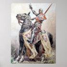 Ritter zu Pferde in Siegerpose Poster